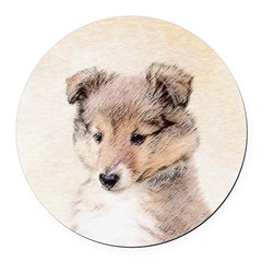Shetland Sheepdog Puppy Round Car Magnet