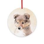 Shetland Sheepdog Puppy Round Ornament
