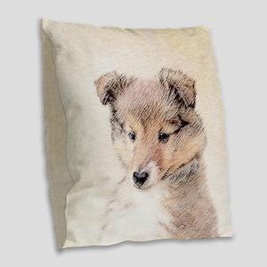 Shetland Sheepdog Puppy Burlap Throw Pillow