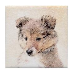 Shetland Sheepdog Puppy Tile Coaster