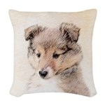 Shetland Sheepdog Puppy Woven Throw Pillow