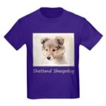 Shetland Sheepdog Puppy Kids Dark T-Shirt