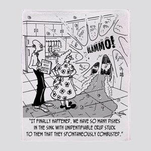 7976_dishes_cartoon Throw Blanket