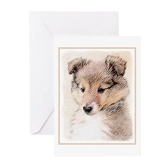 Shetland Sheepdog Puppy Greeting Cards (Pk of 10)