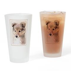Shetland Sheepdog Puppy Drinking Glass