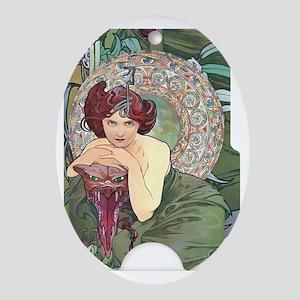 SLIDER-EMERALD-MUCHA Oval Ornament
