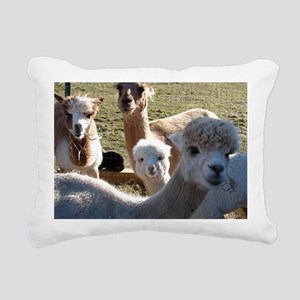 ALPACA FAMILY PORTRAIT I Rectangular Canvas Pillow