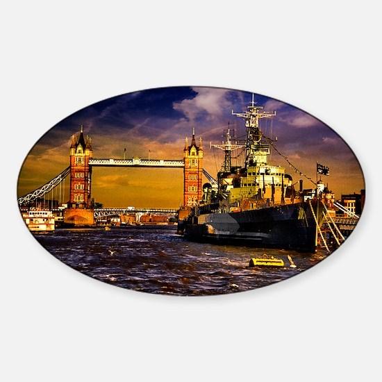 HMS Belfast and Tower Bridge Sticker (Oval)