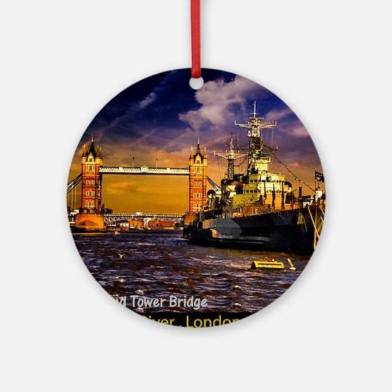 HMS Belfast and Tower Bridge Round Ornament