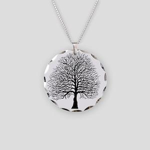 Oak tree Necklace Circle Charm