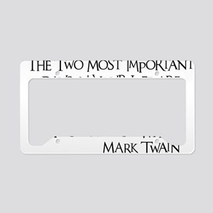 black, Two Imortant Days License Plate Holder