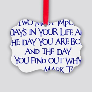 blue, Two Imortant Days Picture Ornament
