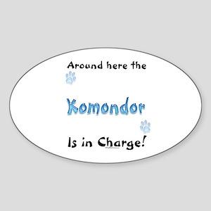 Komondor Charge Oval Sticker