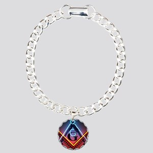 Neon Square and Compasse Charm Bracelet, One Charm