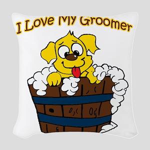 I love my groomer copy Woven Throw Pillow