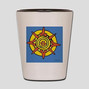 Aztec Sun Glyph Blue Shot Glass