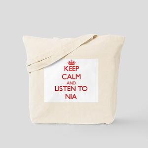 Keep Calm and listen to Nia Tote Bag