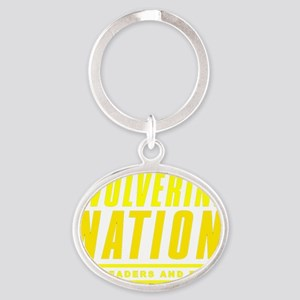 WolverineNationStackLeadersMaize1 Oval Keychain