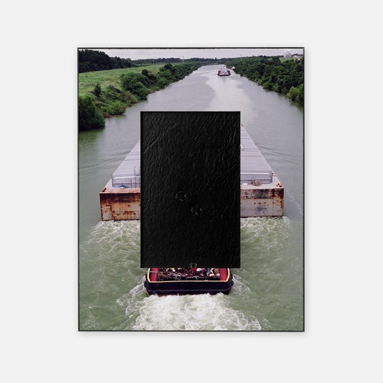 Work Boat on Texas  canal with barge Picture Frame