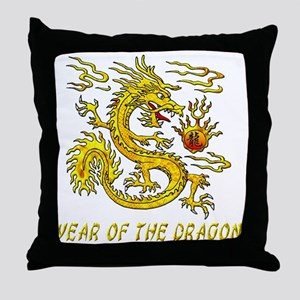 Year Of The Dragon Gold Letters 3D Throw Pillow
