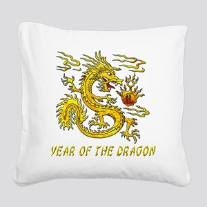 Year Of The Dragon Gold Lette Square Canvas Pillow