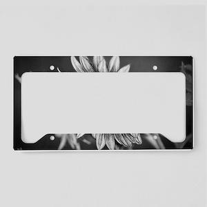 Black and White Sunflower License Plate Holder