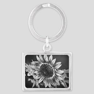 Black and White Sunflower Landscape Keychain