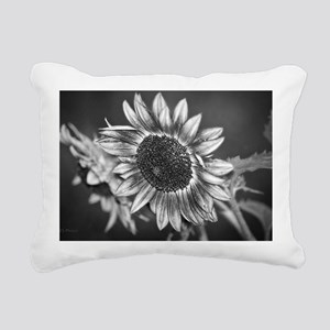 Black and White Sunflowe Rectangular Canvas Pillow