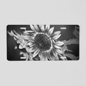 Black and White Sunflower Aluminum License Plate