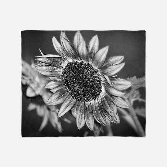 Black and White Sunflower Throw Blanket