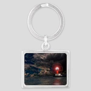 new lighthouse edit 4 Landscape Keychain