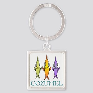 Cozumel 3-fishes Square Keychain