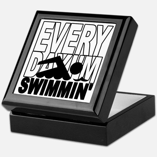 swimming2_wht Keepsake Box