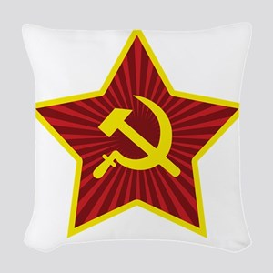 Hammer and Sickle with Star Woven Throw Pillow