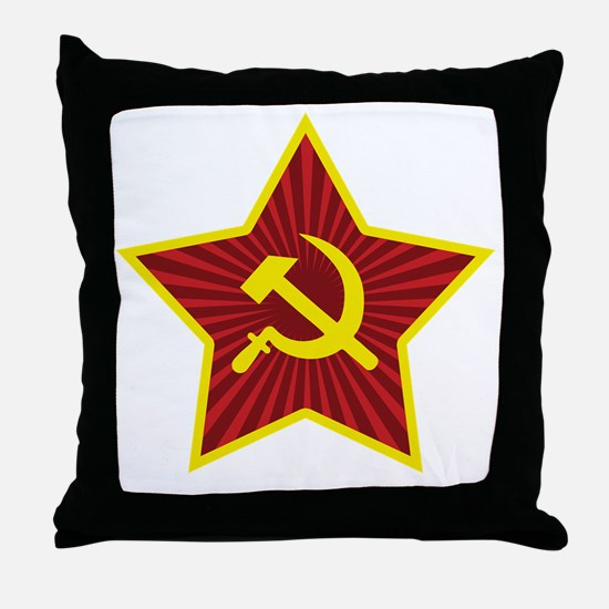 Hammer and Sickle with Star Throw Pillow