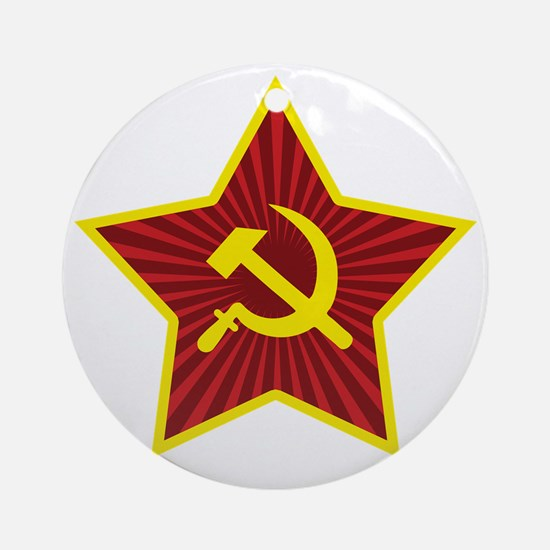 Hammer and Sickle with Star Round Ornament