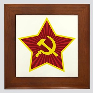 Hammer and Sickle with Star Framed Tile
