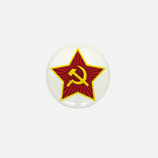 Hammer and Sickle with Star Mini Button