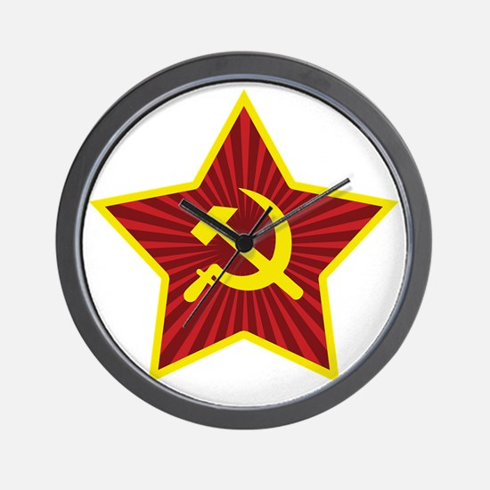 Hammer and Sickle with Star Wall Clock