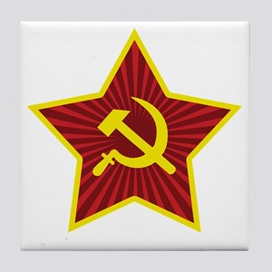 Hammer and Sickle with Star Tile Coaster