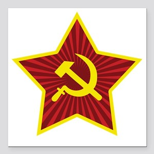 """Hammer and Sickle with S Square Car Magnet 3"""" x 3"""""""