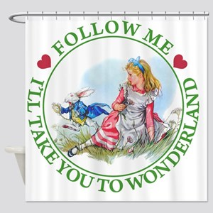 ALICE_follow me MJ GREEN 2 copy Shower Curtain
