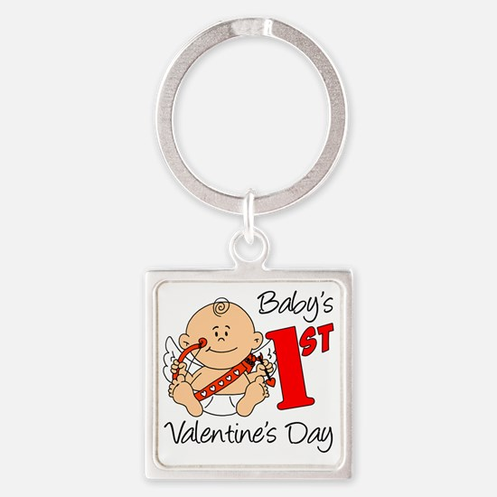 Babys First Valentines Day Square Keychain