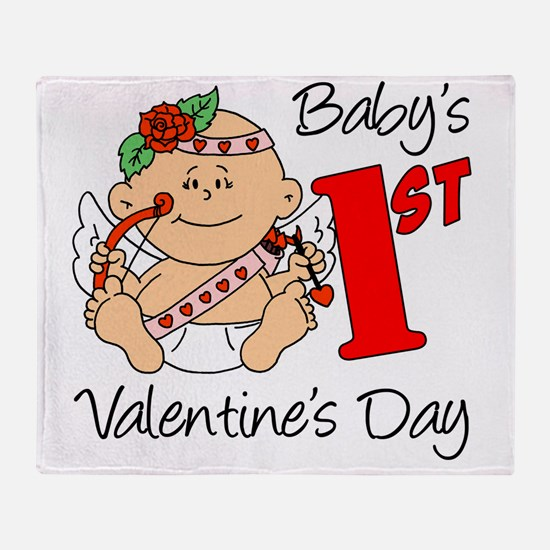 Babys 1st Valentines Girl Throw Blanket