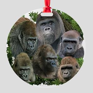 gorilla tee Round Ornament
