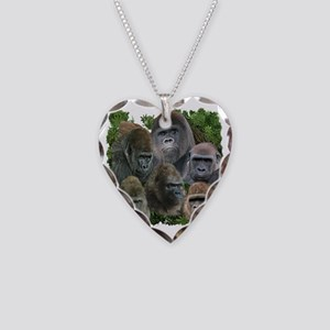 gorilla tee Necklace Heart Charm