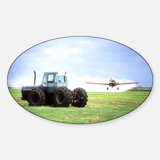 Texas Crop Duster With Tractor Sticker (Oval)