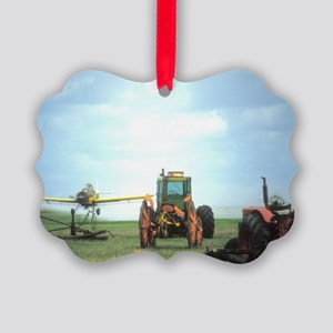 Texas Crop Duster With Tractor Picture Ornament