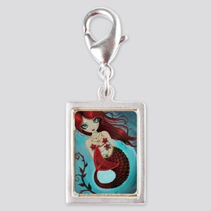 Ruby mermaid Silver Portrait Charm