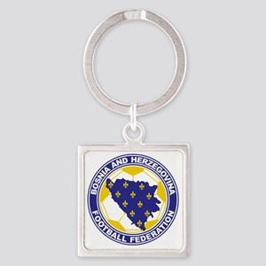 Bosnian Soccer crest Square Keychain